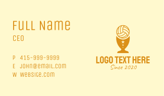Volleyball Trophy Cup  Business Card