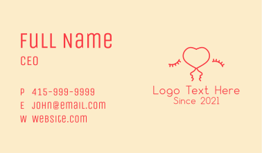Kissing Couple Heart Business Card