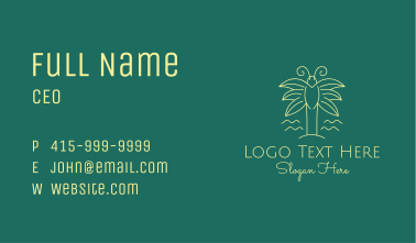 Simple Butterfly Palm Tree Business Card