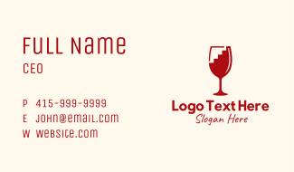 Staircase Wine Glass Business Card