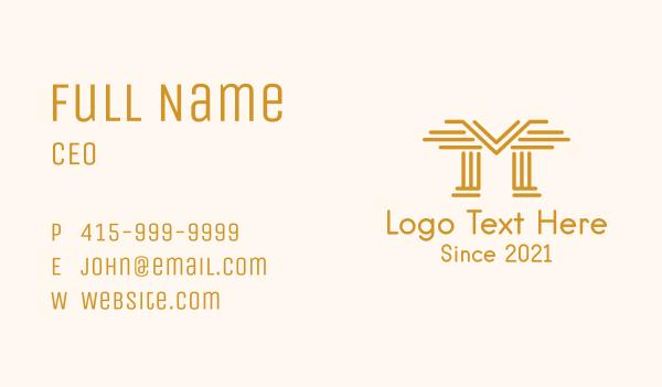 judge - Golden Pillars Letter M Business card horizontal design