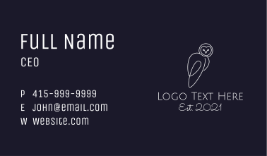 Monoline White Owl Business Card