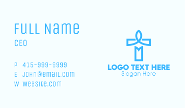Blue Crucifix Letter T Business Card