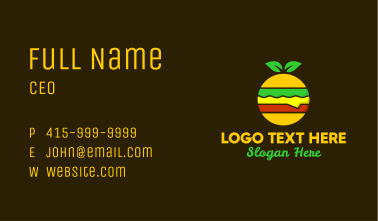 Colorful Organic Hamburger Business Card