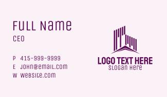Industrial Purple Buildings Business Card