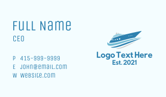 Blue Cruise Ship  Business Card