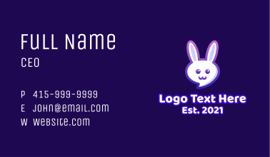 Cute Bunny Chat Business Card