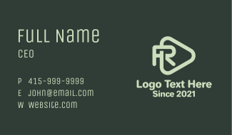 Letter R Play Button Business Card