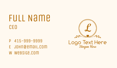 Gold Aesthetic Letter Business Card
