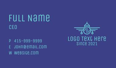 Vintage Airplane Line Art Business Card