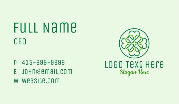 saint patrick - Heart Clover Pattern Business card horizontal design