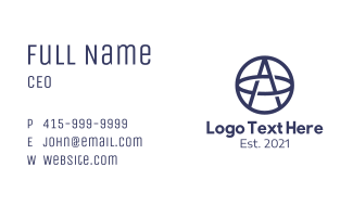 Blue Ring Letter A Business Card