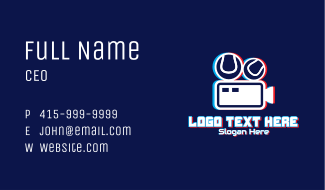 Glitchy Sports Vlogger Business Card