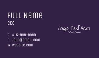 White Doodle Line Wordmark Business Card