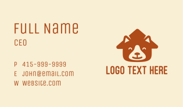 Brown Happy Dog Face House Business Card