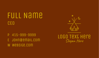 Camping Tent Line Art Business Card