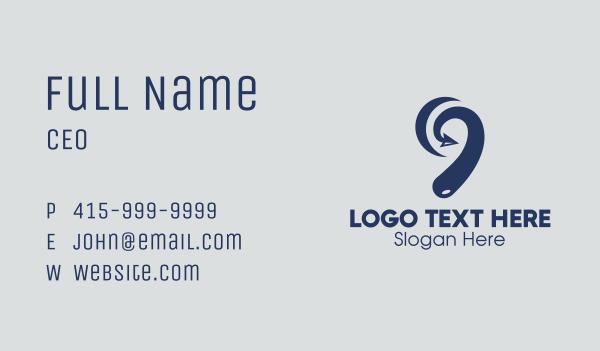 number 9 - Blue Arrow Number 9 Business card horizontal design