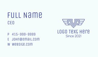 Wings Aviation Letter V  Business Card