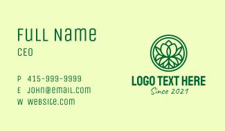 Green Flower Emblem Business Card