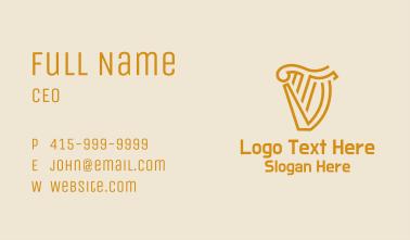 Gold Harp Letter T & V Business Card