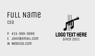 Musical Instrument Notes Business Card