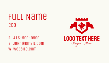 Red Canadian Maple Crest Banner Business Card