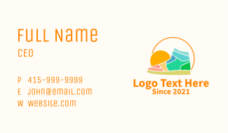 Colorful Sunset Shoe Business Card