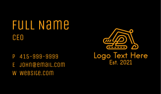 Yellow Construction Excavator Business Card