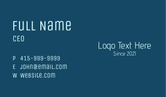 Simple Tech Wordmark Business Card