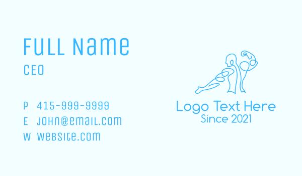 muscular - Blue Muscular Man Business card horizontal design