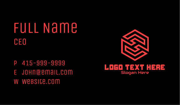app development - Red Futuristic Maze Letter H Business card horizontal design