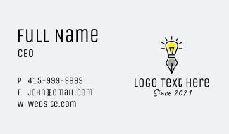 Lightbulb Pen Learning  Business Card