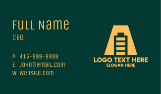 Yellow Battery Letter A Business Card