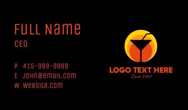 bottle - Sunset Margarita Glass Bar Business card horizontal design