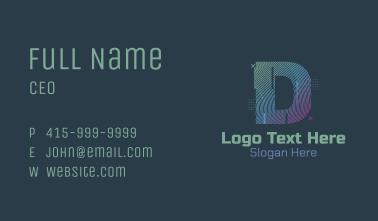 Modern Glitch Letter D Business Card