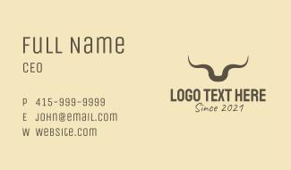 Rustic Bull Horns Business Card
