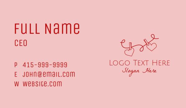 memory - Heart String Valentine Business card horizontal design