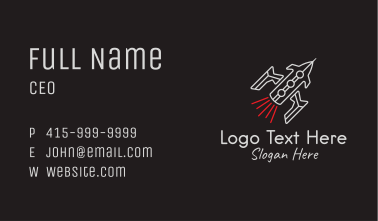 Spaceship Line Art Business Card