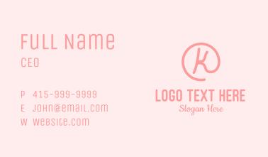 Pink K lettermark Business Card