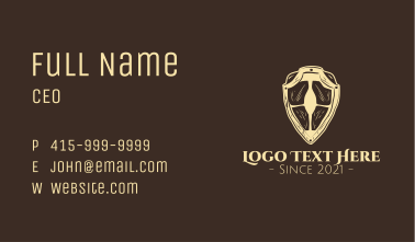 Wooden Medieval Shield Business Card