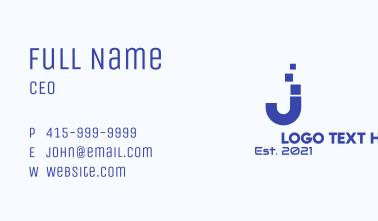 Digital Pixel Letter J Business Card