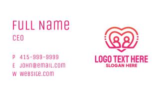 Pink Futuristic Heart Couple Business Card
