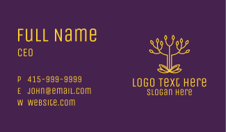 Golden Elegant Tree Branch Business Card
