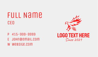 Red Flying Hawk  Business Card