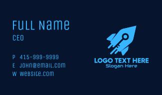 Blue Space Rocket Key Business Card