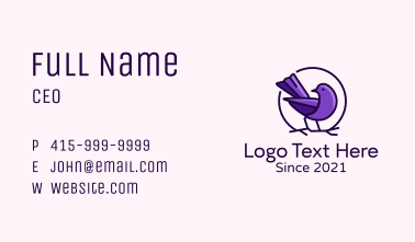 Perched Purple Sparrow  Business Card