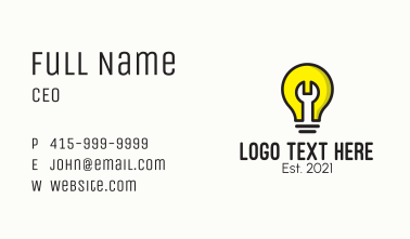 Light Bulb Wrench  Business Card
