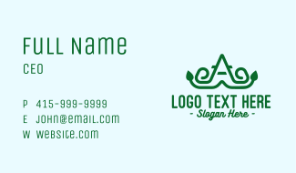 Eco Friendly Letter A Garden Business Card