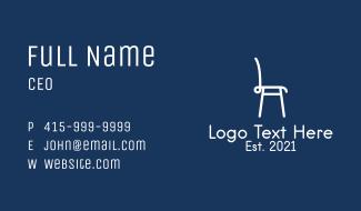 White Furniture Chair  Business Card
