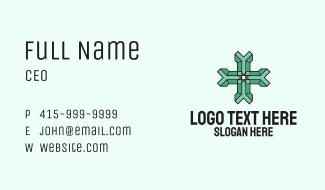 Green 3d Cross Business Card